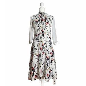 Blue Sky Stylewe Linen Blend Floral Midi Dress NWT